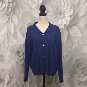 Chico's Blue Long Sleeve Button Down Cardigan 3